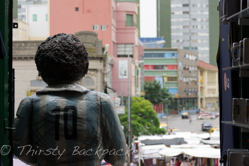 Maradona looks out to La Boca.
